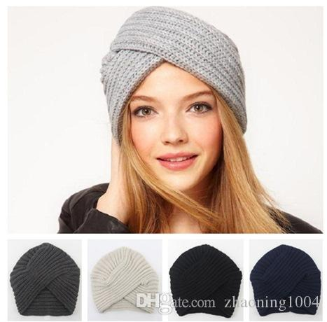 2bdf0ad2dada0 Fashion Womens Bohemia Knitted Headbands For Winter Acrylic Winter Sports  Head Warmer Beanie Solid Color Fancy Hats For Woman Gorro Gorras Cap Fedora  From ...