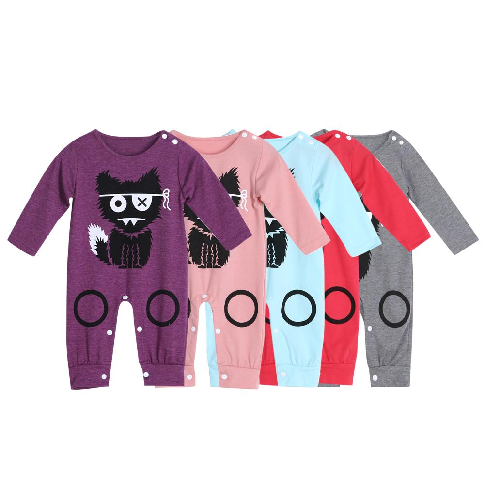 25c86de3f614 Cartoon Long Sleeve Baby Romper Little Monster Baby Boy Girl Romper ...