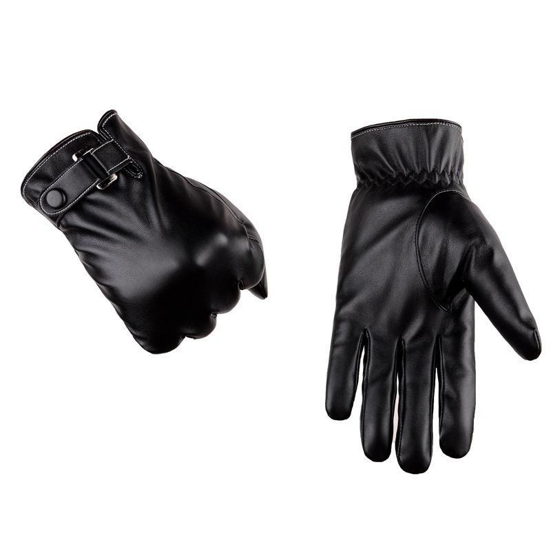 5d9ebdb9841 Acheter 2018 Mode Gants En Cuir Pu En Cuir Noir Marron Couleur Hommes Gants  D hiver Bouton Mitaines Chaudes Mince Touchable Écran De  20.5 Du Fragmentt  ...
