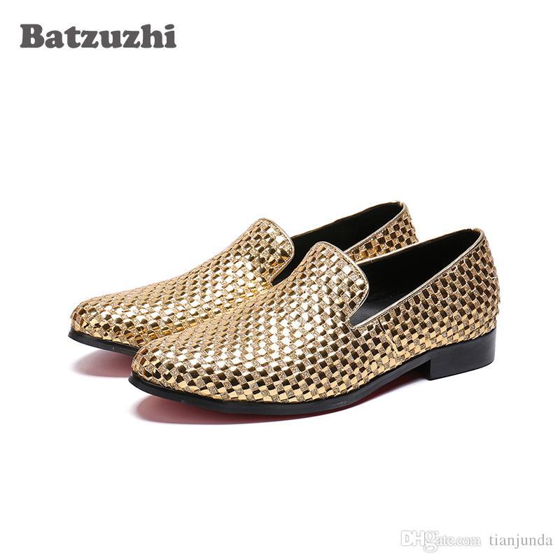 Compre Lujo Italia Estilo Hombres Zapatos De Vestir Ola De Oro Zapatos De  Negocios De Cuero Para Hombres Pisos Ocasionales Zapatos Hombre Zapatos De  Fiesta ... c8e2157d959