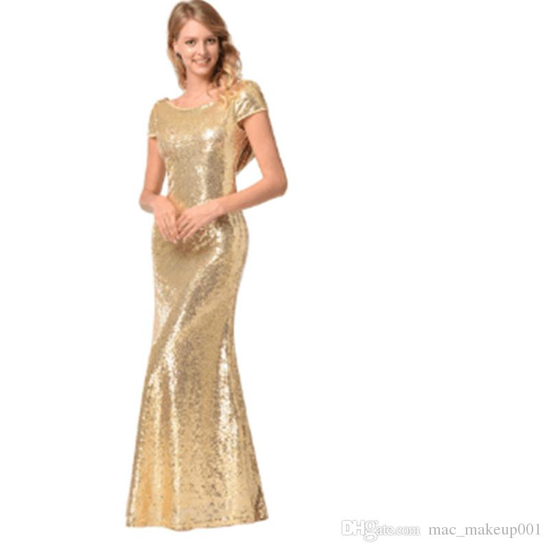 Gold Long Evening Dress Ever Pretty Back Cowl Neck Shine Sequin Sparkle Elegant Women Evening Party Gown