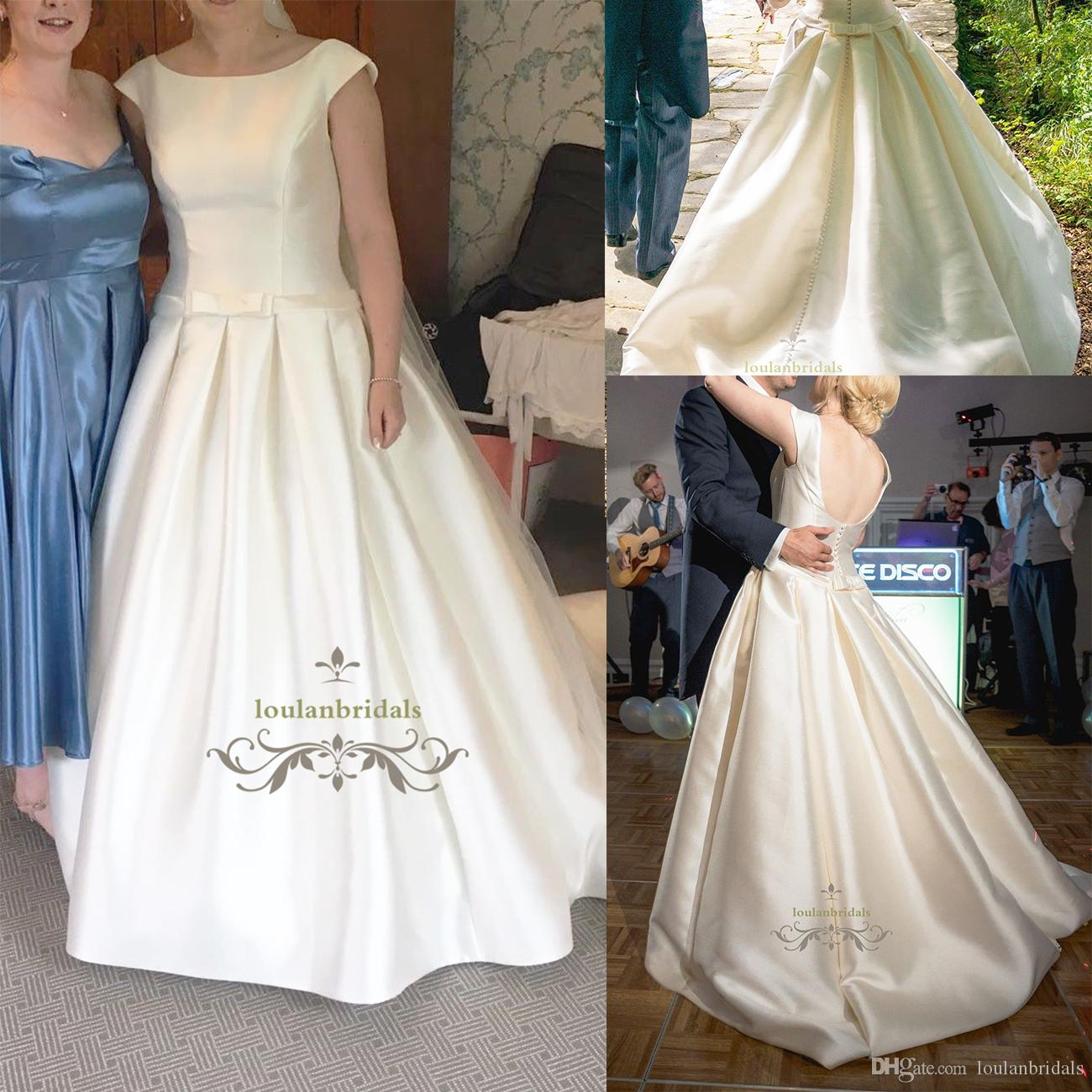 Ball Gown With Drop Waist Wedding Dress Boat Neckline Slit Cap ...