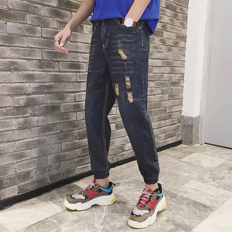 2019 2018 Newest Men S Fashion Trend Cowboy Casual Pants Loose Bule
