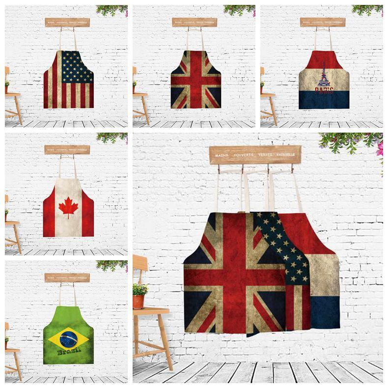 72a25822f9d 5 Styles Creative Aprons Novelty American Flag Apron Adults Printed Canada  Brazil Aprons Cartoon BBQ Camping Kitchen Tool CCA10011 Flag Aprons  American Flag ...