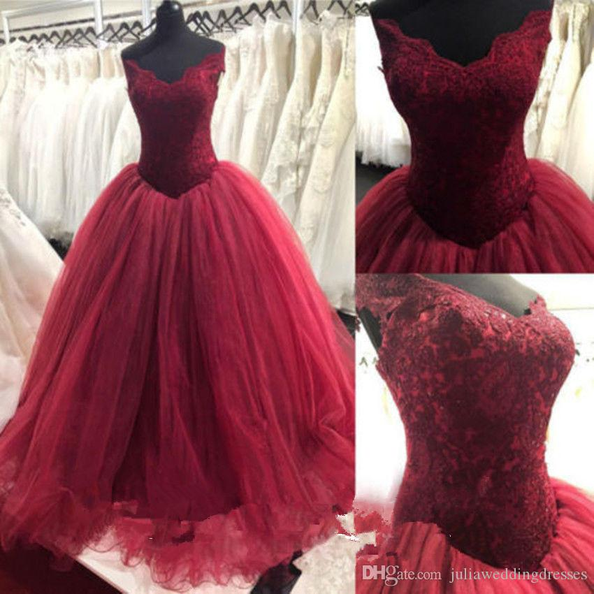 7bf0c4455537b 2019 New Luxury Wine Red Ball Gown Quinceanera Dresses Crystals For 15  Years Sweet 16 Plus Size Pageant Prom Party Gown QC1053 Yellow Dresses 15  Dresses ...