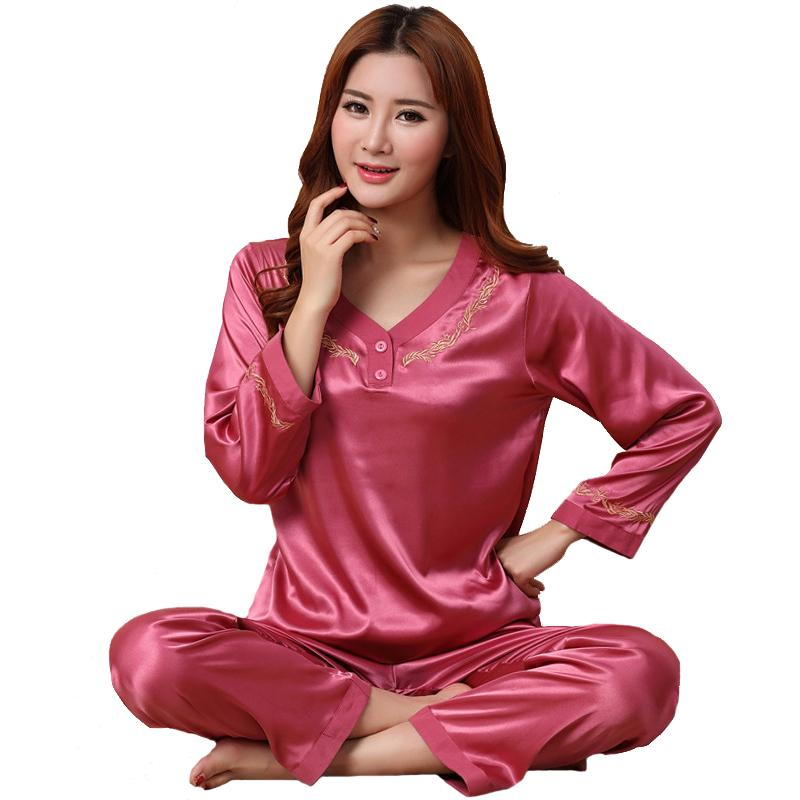 ... info for e1da6 70712 2018 New 2018 Shirt And Pants Sleep Set Women  Satin Sleepwear Spring ... c8562e263