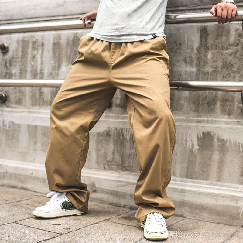 0f1995a19b06d 2019 30 46 Plus Size High Quality Men S Loose Cargo Pants Casual Mens  Elastic Waist Pant Military Overall For Men Long Trousers Blue Grey Green  From ...