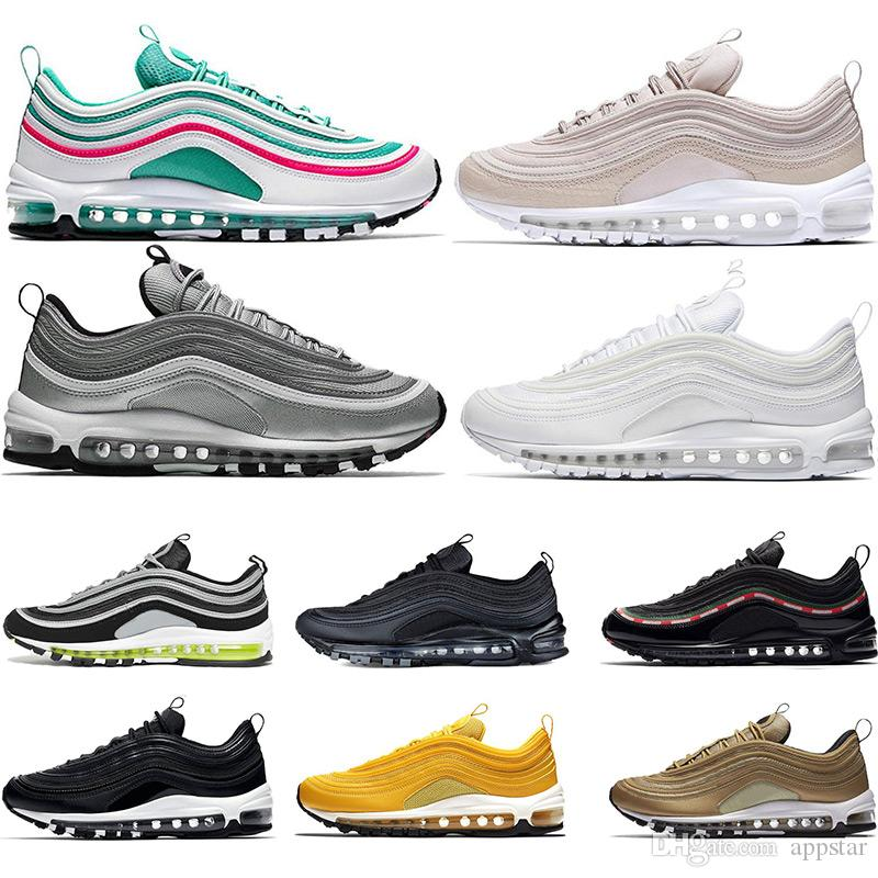 8b55e91d4c68 2019 Hot 97 Running Shoes Triple White Black Pink South Beach Og Metallic  Gold Silver Bullet Mustard Mens Trainers Women Sports Sneaker 36 45 From  Appstar
