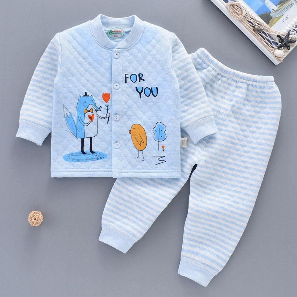 41927bb25284c 2019 Autumn Winter Children Warm Clothes Baby Boy Girl 100% Cotton Set Long  Sleeve Undershirt+Long Pant Set For 3 24M Baby Y18102207 From Gou07