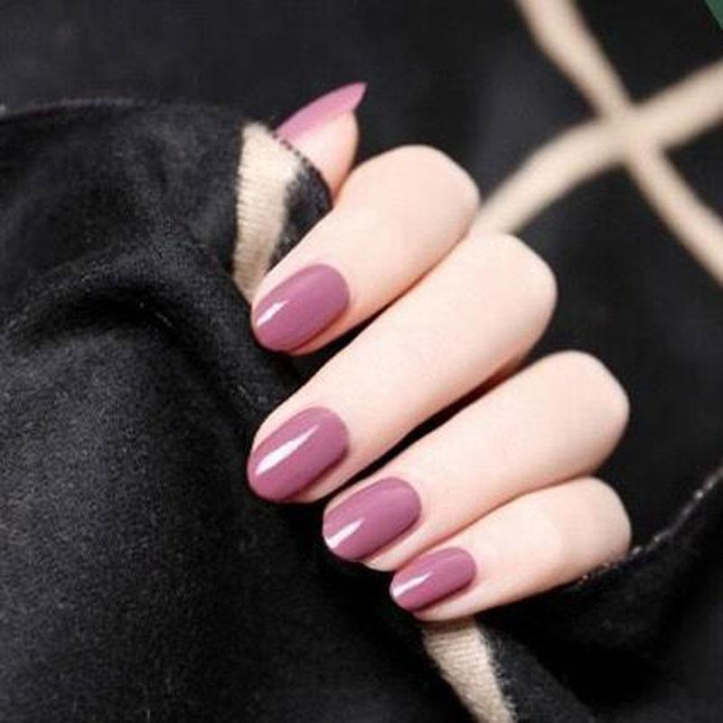 ZHOUShort False Nails Round Head Solid Color Fake Nail Full Cover  Artificial Wear Nails Art With Double Sided Adhesive Acrylic Nail Designs  Fake Nails From ... - ZHOUShort False Nails Round Head Solid Color Fake Nail Full Cover