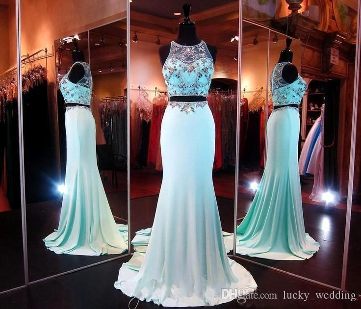2017 Sexy Blue Beaded Two Piece Ball Gown Jersy Illusion A-Line Floor Length With Sequins Crystal Long Party Evening Dresses Prom Gowns