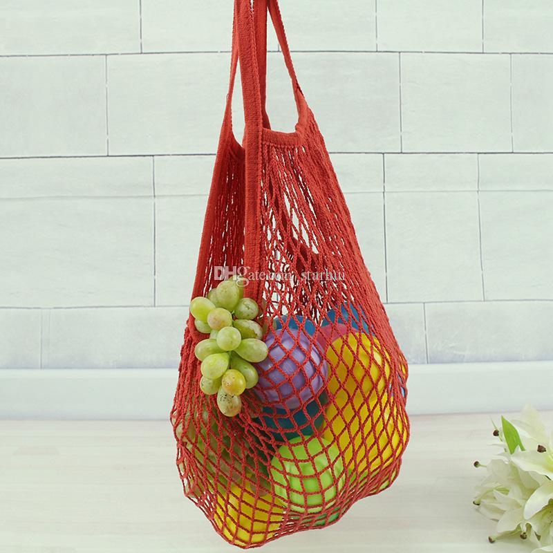 Chaîne réutilisable Shopping Fruits Légumes Sac D'épicerie Shopper Fourre-Tout Net Tissé Coton Épaule Sac Main Fourre-Tout Accueil Sac De Rangement WX9-365
