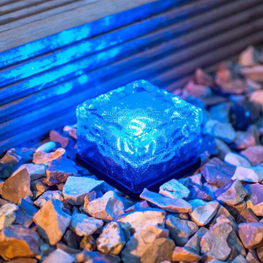 Fashion deco lights Ice cube LED energía solar subterránea luces solares DHL envío gratis flash ice cube lámpara sensor de iluminación