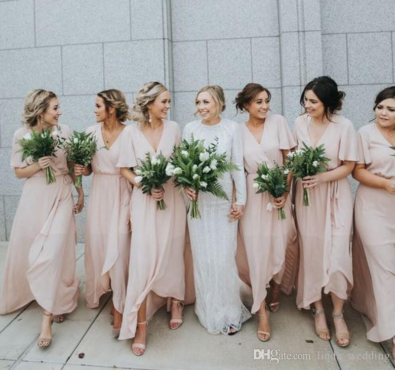 19cdf595da8f 2018 Spring Summer Chiffon Bridesmaid Dress Western Country Garden Beach  Formal Wedding Party Guest Maid Of Honor Gown Plus Size Custom Made Canada  2019 ...