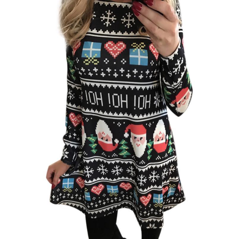 Winter Women Xmas Print Swing Dress Girl Christmas Long Sleeve Flared Party  Dresses Polyester Mid Mini Vintage Vestidos Printing Black Prom Dresses ... 4a1017c6e108
