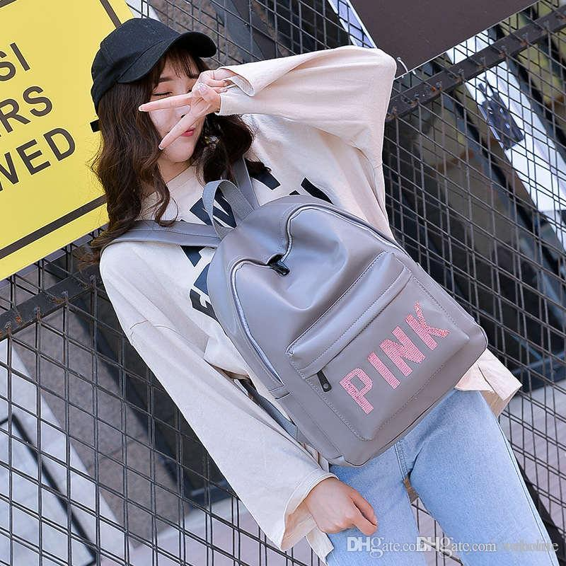 2018 Love Pink Letter PU Leather Bags Backpack Girls Fashion Deisgn Outdoor  Sports Travel Teenager School Rucksack Waterproof Shoulder Bag Pu School Bag  ... 94e5d257139f7