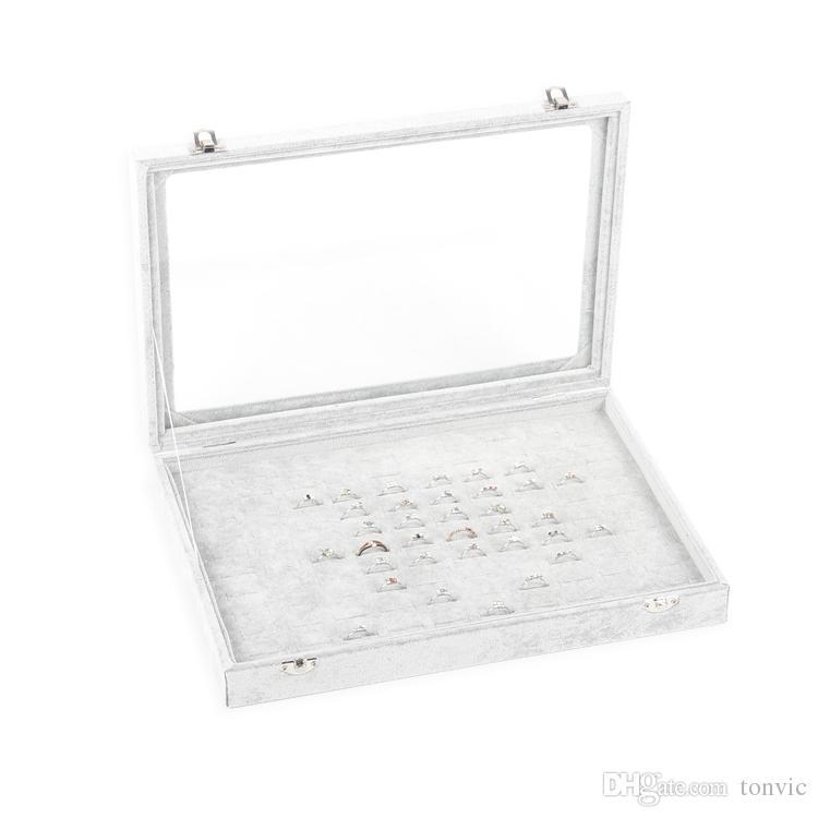 Tonvic Grau Ice Velvet Schmuck Display Box-Ring-Armband Eearring Halskette Perlen Speicherfächer Fach mit Glasdeckel