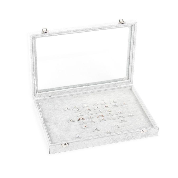 Tonvic Серого Ice Velvet дисплей ювелирных изделий Box кольцо браслет Eearring бусы ожерелье хранение Отсеки лоток со стеклянной крышкой