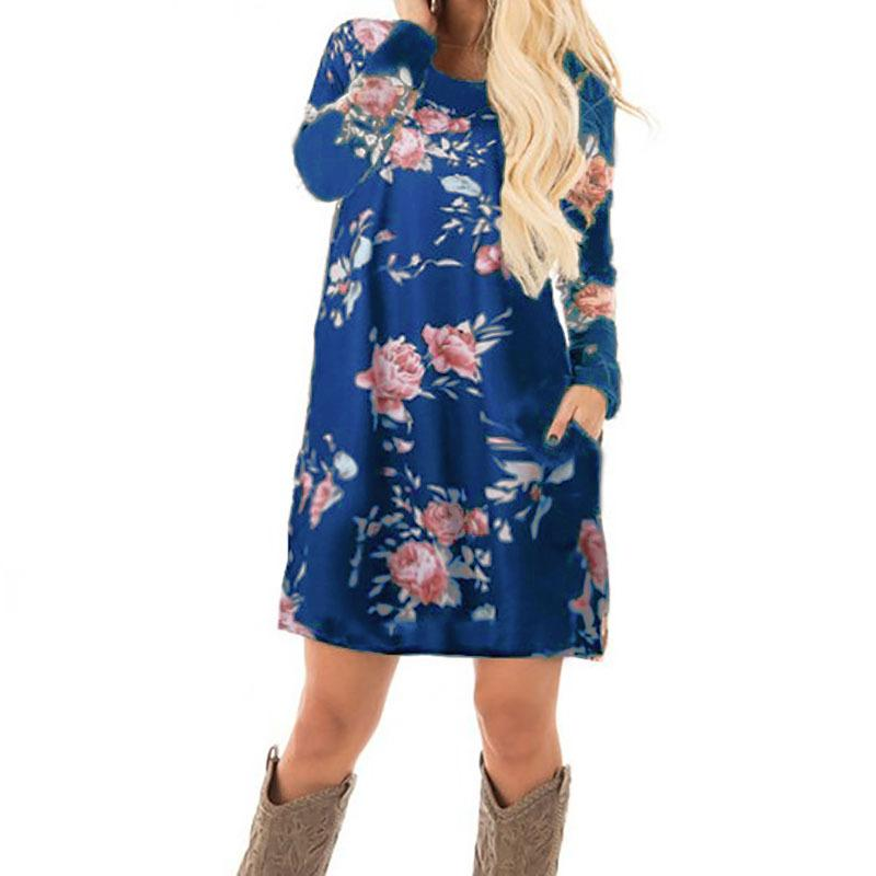 6686eac91b9e2 New Prairie Chic Long Sleeve Mini Dresses Women Autumn Floral Print Dress  Cotton Casual Dress Plus Size GV845
