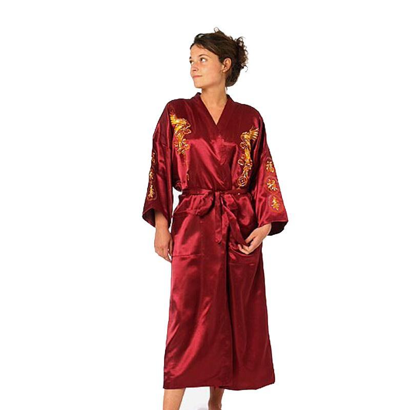 c7d8bcecd7d1 2019 Burgundy Silk Embroidery Dragon Kimono Bathrobe Gown Women Sexy Satin  Robe Long Nightgown Size S M L XL XXL XXXL D125 04 From Blueberry07