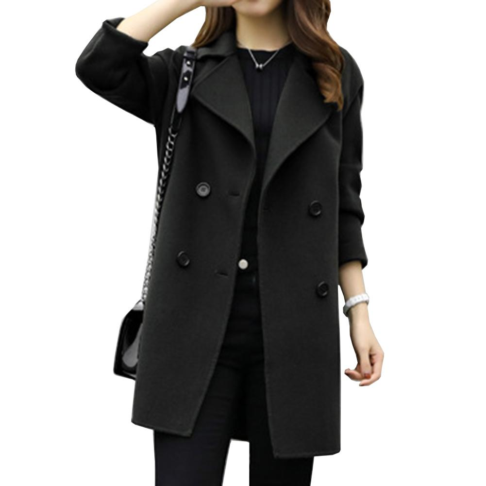 5a6c420e3c 2019 New Winter Coat Women Woolen Blended Lapel Double Breasted Plain Long  Sleeve Coats For Women From Edward03, $44.18   DHgate.Com