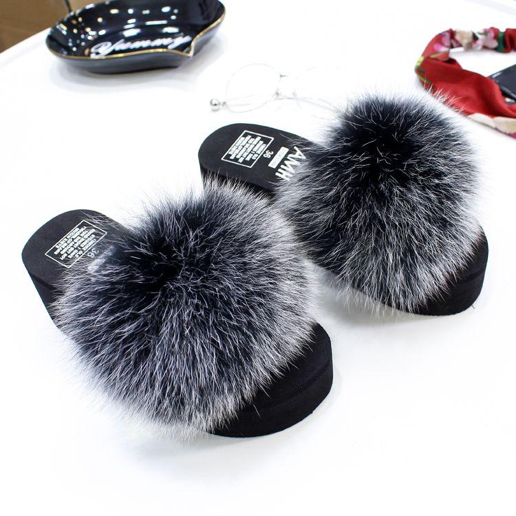 real fur slippers women fox home winter fluffy slides comfort