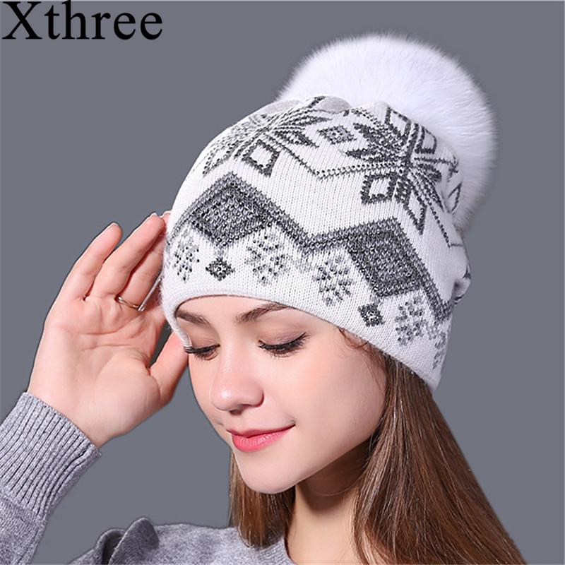 Xthree New Real Mink Pom Poms Christmas Wool Rabbit Fur Knitted Hat  Skullies Winter Hat For Women Girls Feminino Beanies Hats For Sale Hats  Online From ... e2331933bad8
