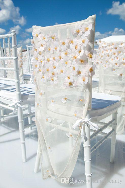New Coming White Hand Made Flower Beautiful Romantic Bohemia Wedding Events Wedding Supplies Chair Sashes Popular