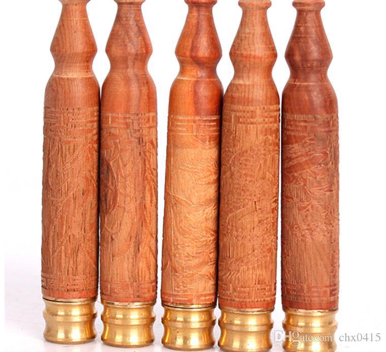 Porta cigarrillos de madera maciza de tejo bellamente tallado, accesorios de cigarrillos, cabezal de cobre, boca de tubo de filtro