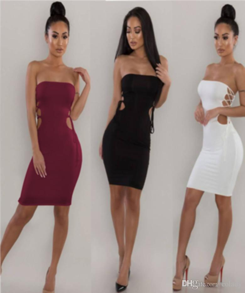 fb2fa02daa85 2018 Women s Dress Wrapped Chest Sexy European And American ...