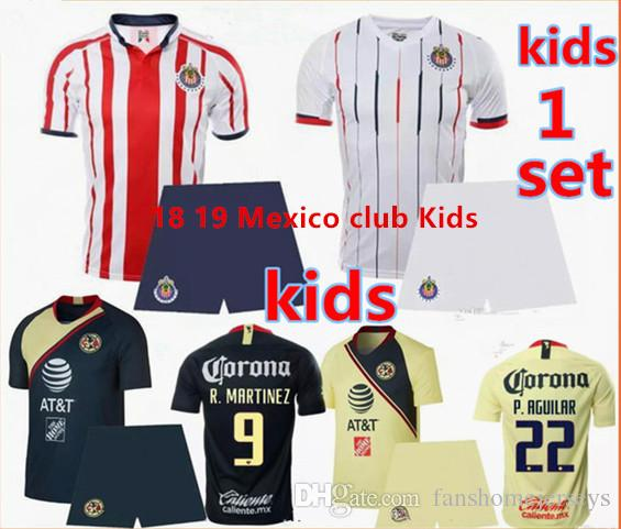 Child Kids Kit 2018 2019 MEXICO CLUB LIGA MX CHIVAS Guadalajara Club  America UNAM Soccer Jerseys Home Away Youth Boys 18 19 Football Shirts UK  2019 From ... c34fcac433935