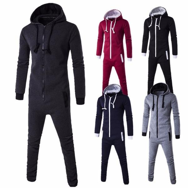 8ec9180fb60 2019 Plus Size Women Men All In One Piece Jumpsuit Hooded Zip Onesie  Playsuit Plain Sports Slim From Milhannnn