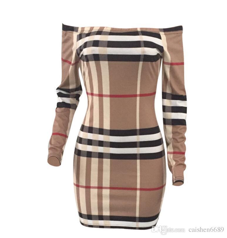 Mode Tartan Enveloppé Poitrine Robe À Manches Longues Mince Femmes Vêtements Sexy Robe D'été Casual Vêtements Club Partie Robe Robes