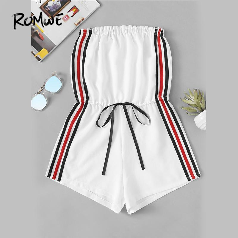 4a72457a1df 2019 ROMWE Striped Tape Side Drawstring Waist Tube Romper Female Summer  Sleeveless Strapless Straight Leg Playsuits Casual Rompers From Piterr