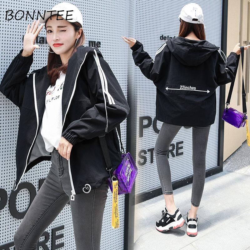 f8240a573eb Women Jacket Harajuku Korean Zipper Letter Printed Hooded Simple Loose  Womens Jackets Fashion BF New Style All Match Casual Cute Lightweight Jacket  Team ...