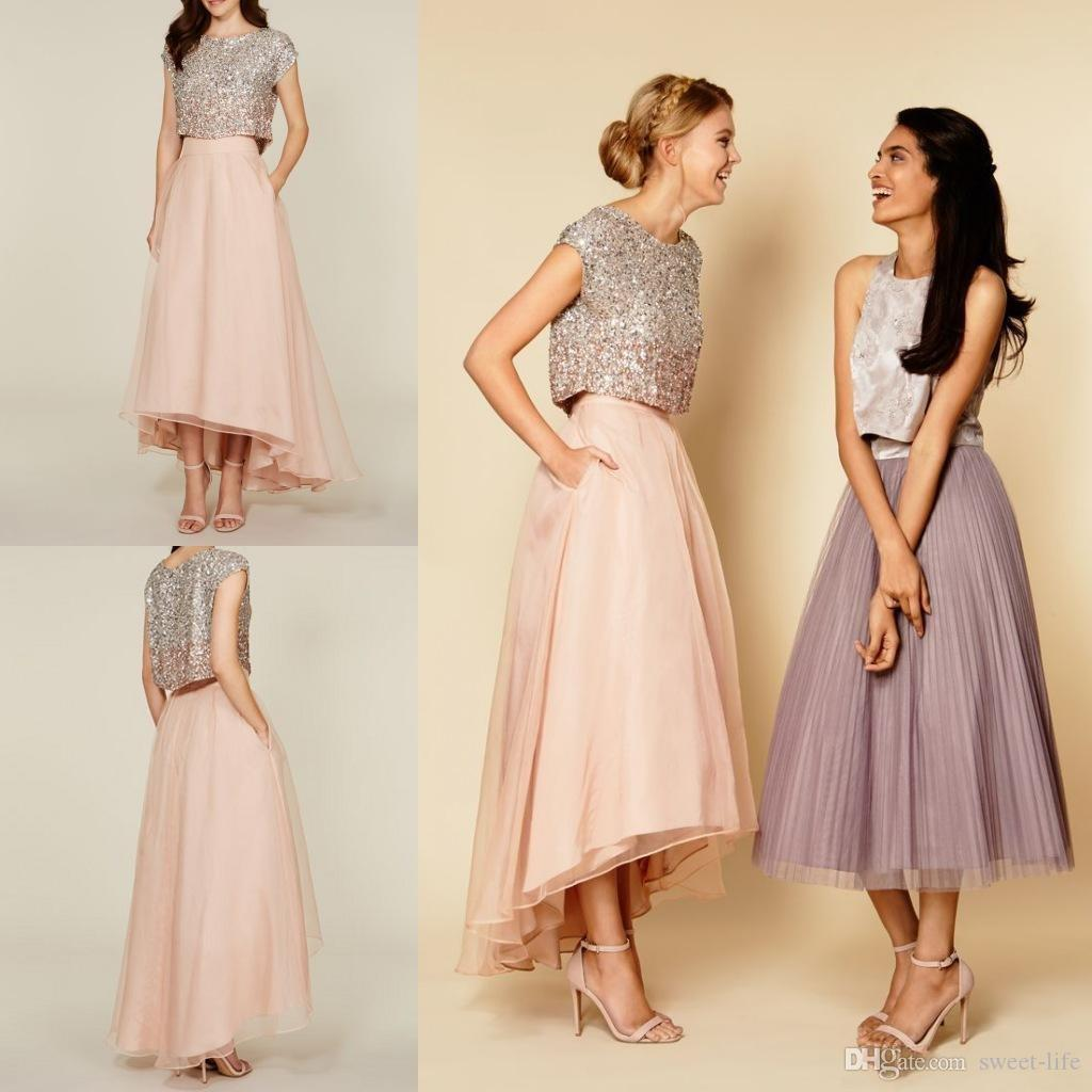 2018 Two Piece Charming Bridesmaid Dress Jewel Sleeveless Sequins Top High Low Wedding Guest Wear Custom Made Cheap Plus Size Maid Of Honor