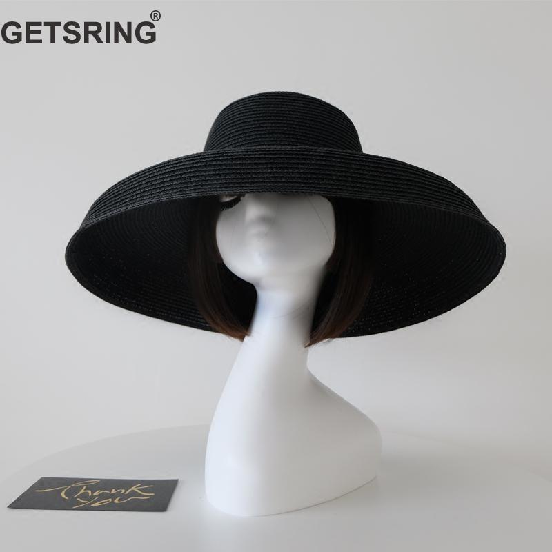 GETSRING Women Hat Elegant Summer Hats Retro Overhat Sun Cap Womens Straw  Hats Hepburn Sun Visors All Match Fashion Cap Black Hats For Women Trilby  Hat From ... 137490fdb