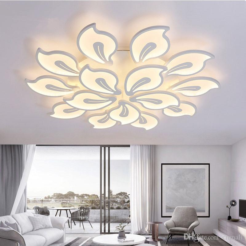 White Acrylic Modern LED Chandelier For Living Room Bedroom LED ...