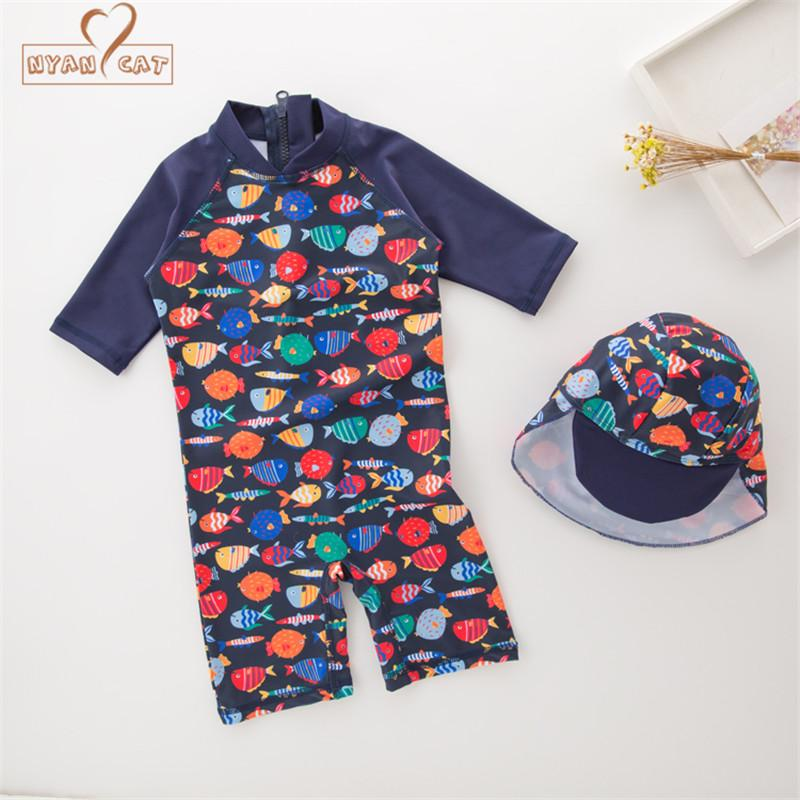 New summer baby boys swimwear hat 2pcs set fish animals swimming infant toddler kids children Long Sleeve Sunscreen Swimwear