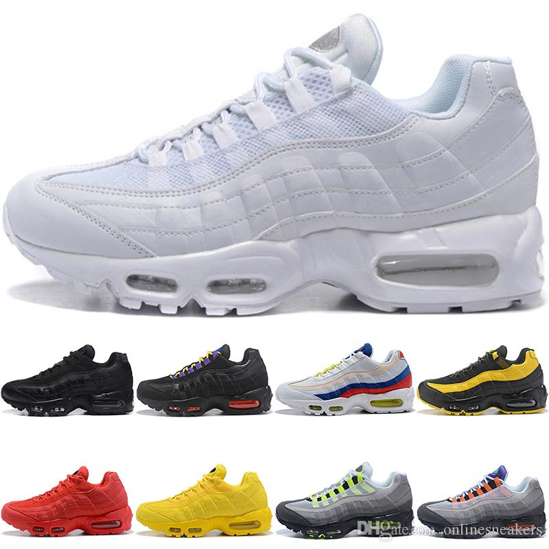 Scarpe Da Walking Nike Air Max 95 Airmax 95 Mens Women Running Shoes  Frequency Triple Nero Bianco SE Giallo ERDL Party Neon Grape Run Sport  Sneaker Size 5.5 ... be7e8d1d4bc