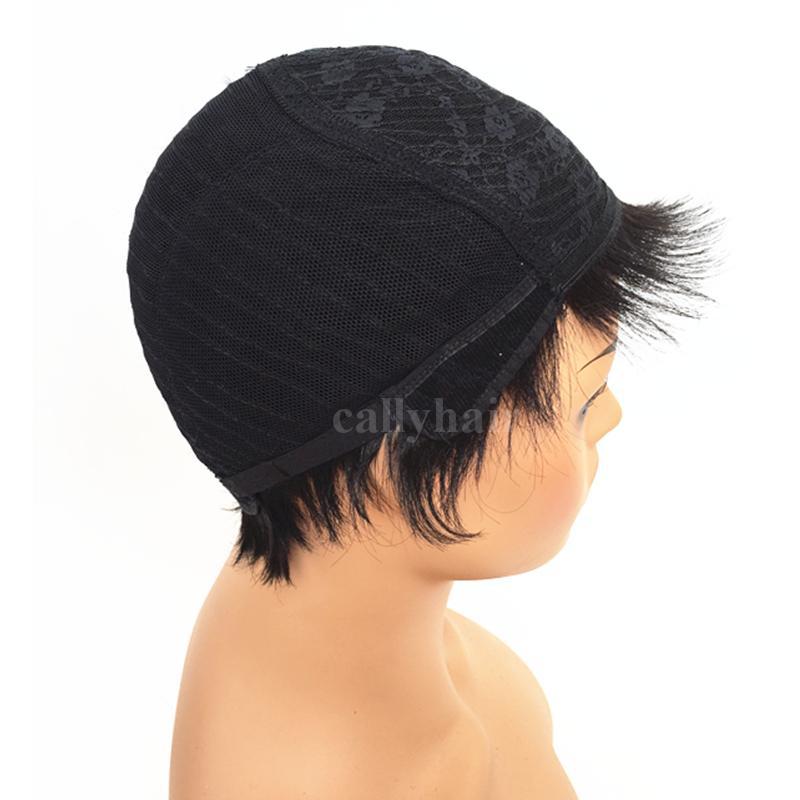 Cheap Short Human Natural Brazilian Hair Glueless Wig For Black Women Celebrity Human Real Hair Short Cut Wigs Hot Sale