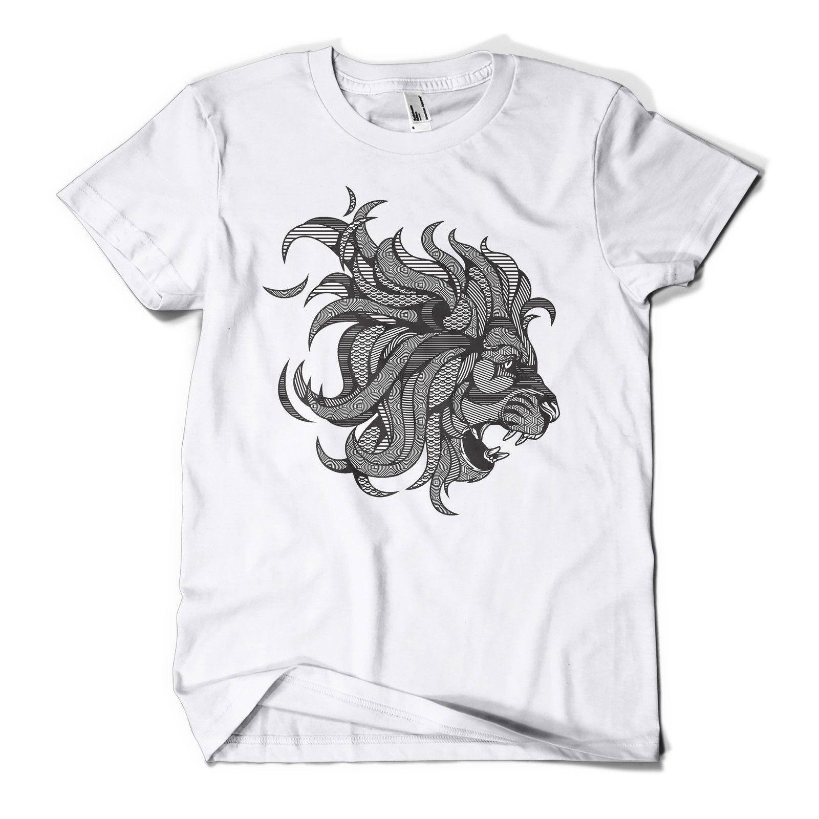 1fc955eda Graphic Lion Printed T Shirt Hipster Design Urban Fashion Mens Girls Tee  Top 2018 Summer 100% Cotton Short Sleeve Funny O Neck T Shirt Be T Shirts  Awesome ...