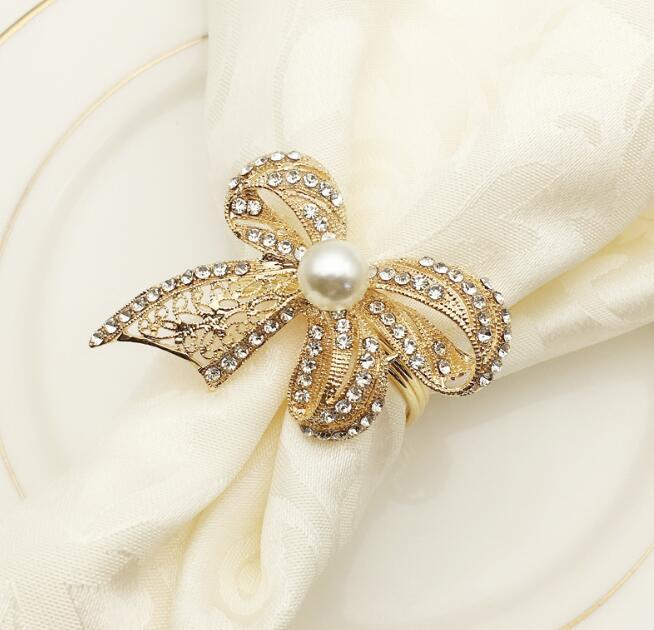 Bow Napkin Rings Luxurious Gold Plated Diamond Pearl Napkin Holder ... a045fb24dfca