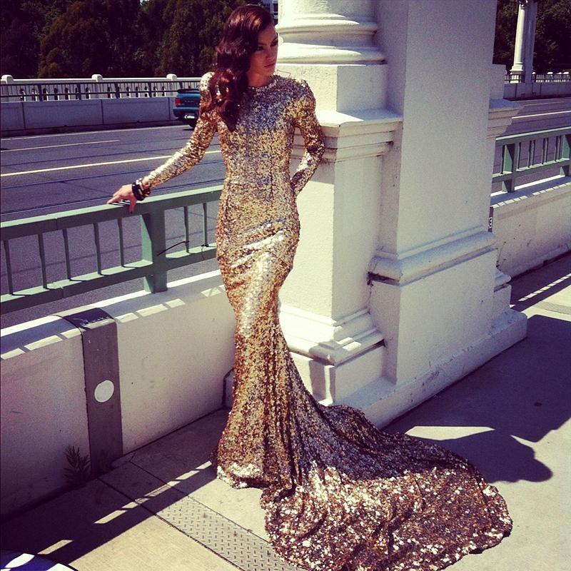 New Sparkling Sexy Abayas Dubai Modest Special Occasion Dresses Long Sleeve 2018 Gold Sequined Long Evening Dresses Party Gown