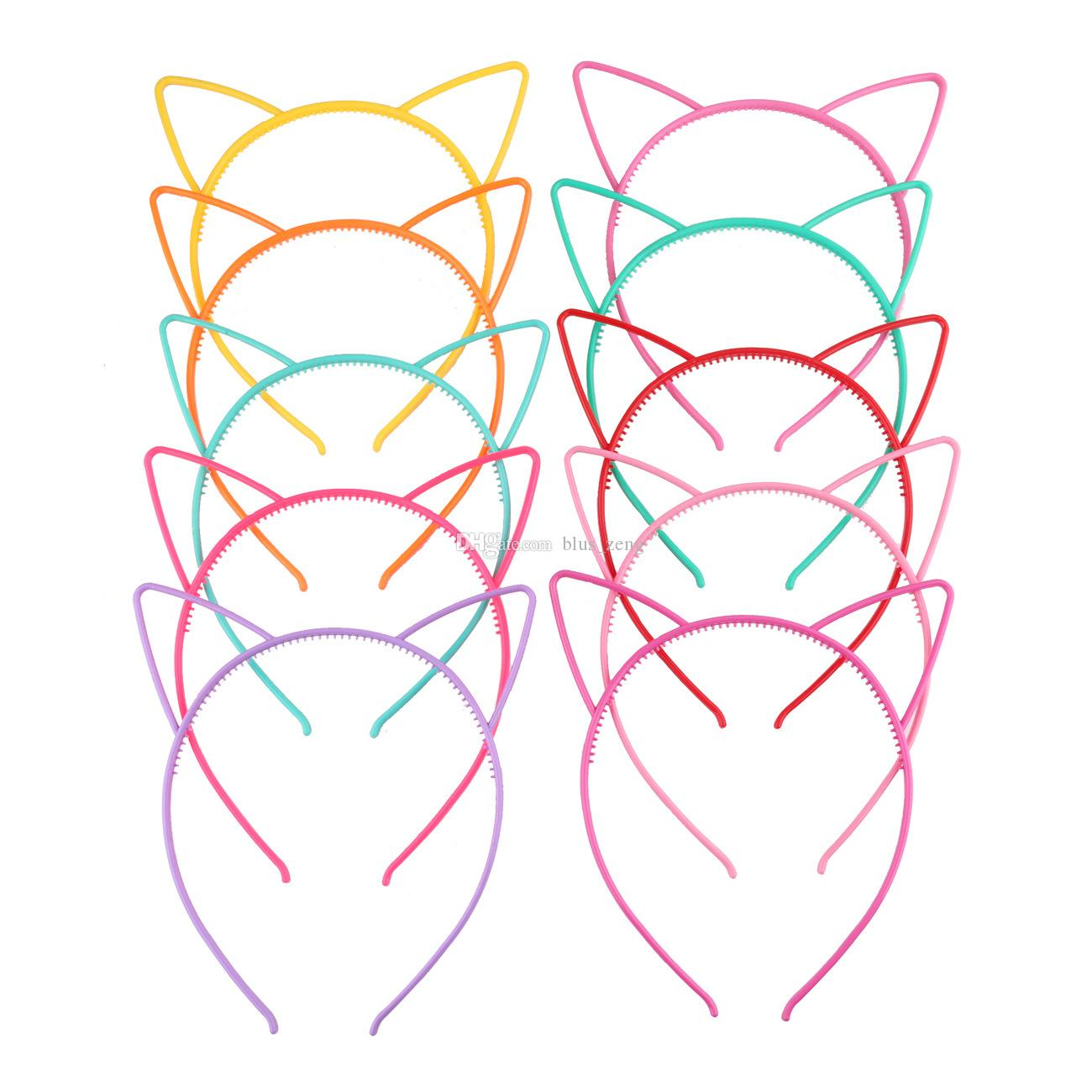Compre Chicas De Dibujos Animados De Plástico Oreja De Gato Hairband ...