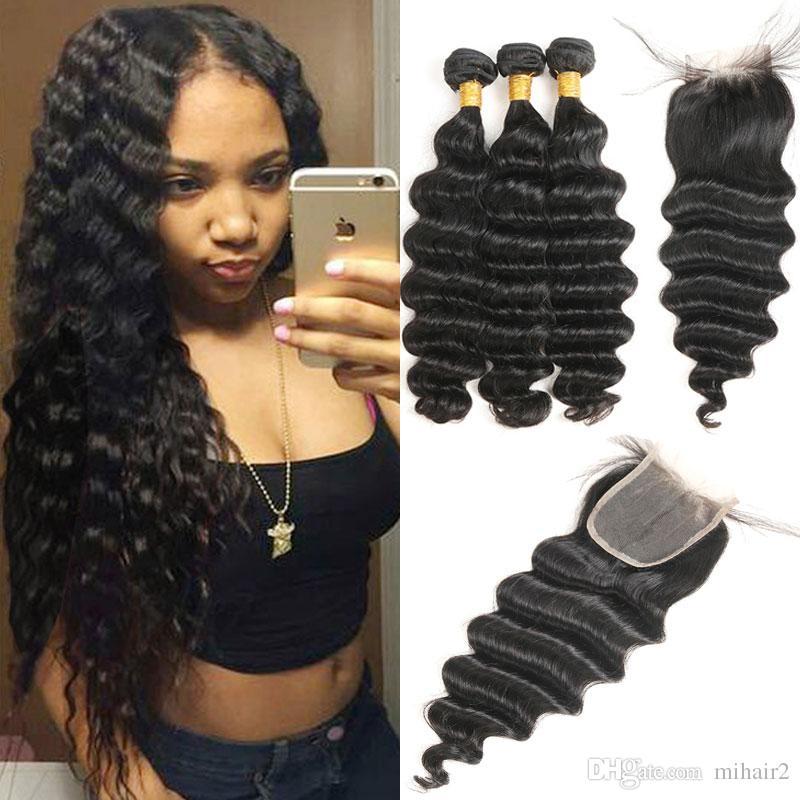 3/4 Bundles With Closure Malaysian Human Hair Bundles With Lace Closure Non Remy Deep Wave With Closure 100% Human Hair Extensions Natural Color