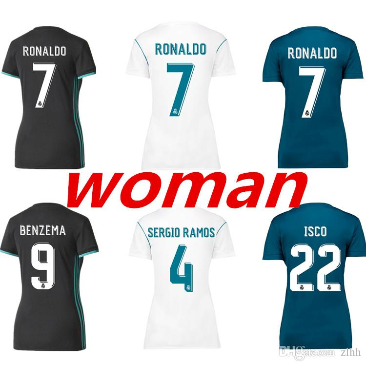 3AAA+Thai Quality 2017 2018 Womens Real Madrid Soccer Jersey 17 18 RONALDO  Home White Away Black BALE RAMOS ISCO Football Shirt For Womens UK 2019  From Zlhh ... f23d8138c