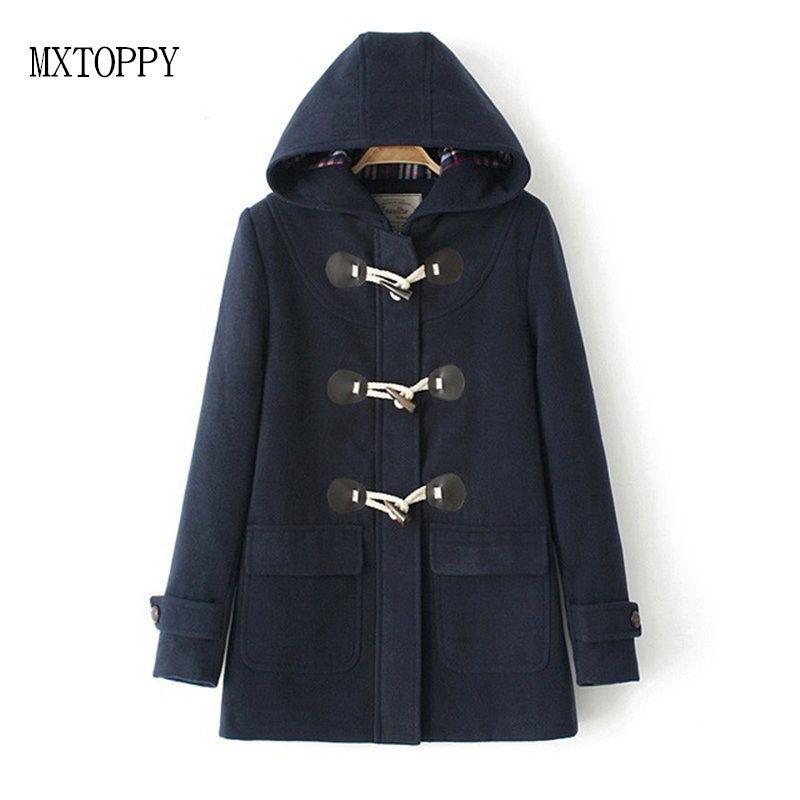 meilleur pas cher 1761d 5fc17 2018 Woman Woolen Overcoat Duffle Coat Long Turn Down Horn Button Hooded  Collar Wide Waisted manteau femme OutWear winter coats