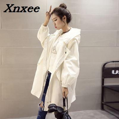 bc226435a 2019 Women S Trench Coat Loose Autumn Winter Outfit Hooded Long ...