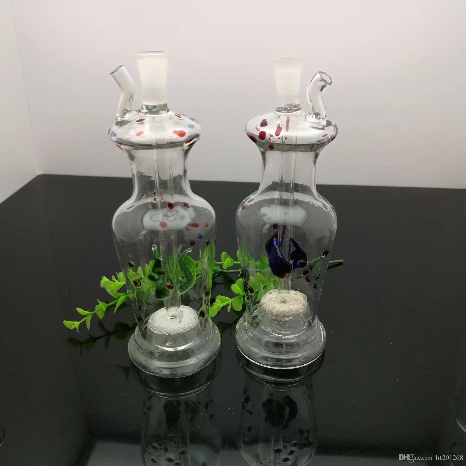 컬러 포인트 모래 코어 필터 꽃병 유리 물 병 도매 유리 기억 만 석유 버너 유리 물 파이프 석유 굴착 흡연
